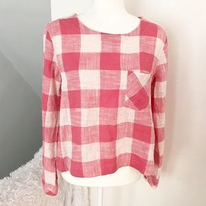 Cloth & Stone Gingham Button Back Checkered Top